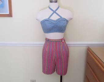 Ultimate Bombshell Vintage 1950s 50s Striped Booty Short Shorts -Deadstock/Nos- Pinup-JD-Juvenile Deliquent-Bad Girl-Vixen-Rockabilly-VLV
