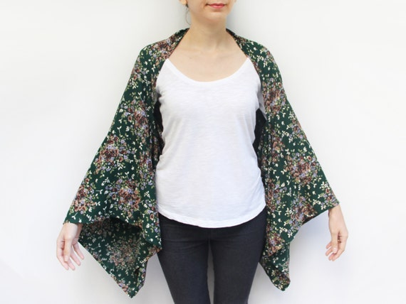 Plus Size Kaftan, Maternity Kimono, Loose Long Top, Loose Boho Clothing, Good Gift For Sister, Cardigan Poncho, Green Tunic Top Gift Wrap