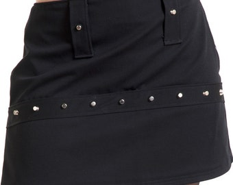 Black cotton mini skirt with silver studs and cones punk rock industrial - Handmade in Italy Limited Edition