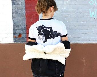 Black Panther - Girls ringer t-shirt white/black
