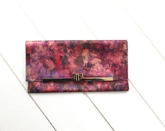 Pink Purple Leather Clutch Bag Purse, Hand-Painted Designer Clutch with Gold Detail