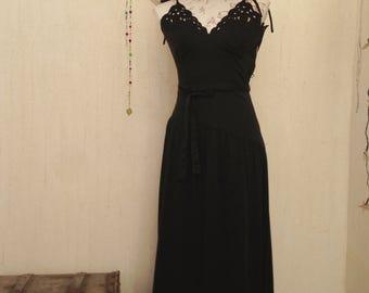 Vintage dress-vintage clothing-vintage fashion-vintage black dress-maxi dress-retro-70s dresses