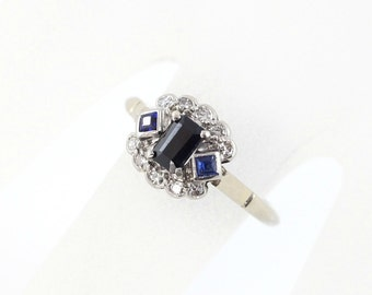 Vintage Sapphire and Diamond Ring, Palladium and White Gold Ring, Blue Sapphire Engagement Ring, 18ct Gold Ring, Square Set Cluster Ring