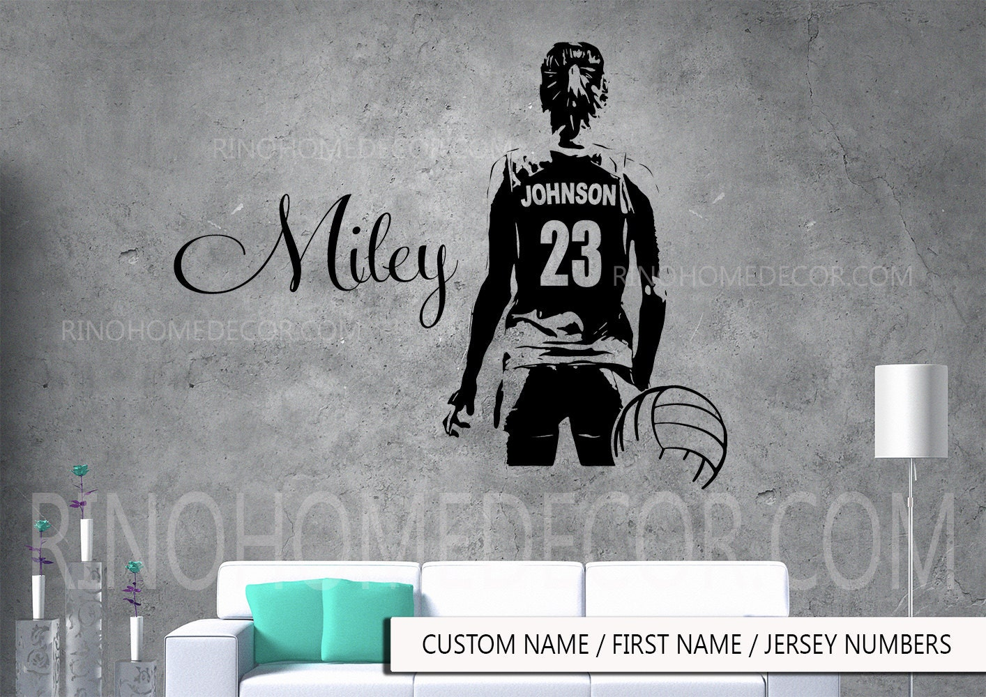 VolleyBall Wall Art Large Volley Ball Player Vinyl Decal Sticker - Custom large vinyl stickers