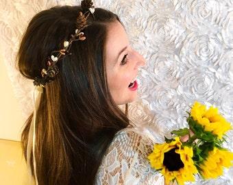 Fall flower crown. Pinecone hair piece. Bride. Bridal. Hair accessory. Bridal hair. Rustic crown. Tiara. wedding accessory. bridesmaids