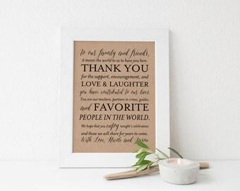 Printable Wedding Thank You Sign, Wedding Decor, 8x10 Wedding Signs, Custom Wedding Signs, Custom Thank You Sign, Choose Your Color