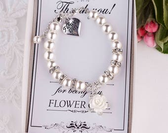 Flower Girl Bracelet Flower Girl Gift Ideas Flower Girl Jewelry Child Bracelet Little Girl Bracelet Ivory Pearl Bracelet will you be my