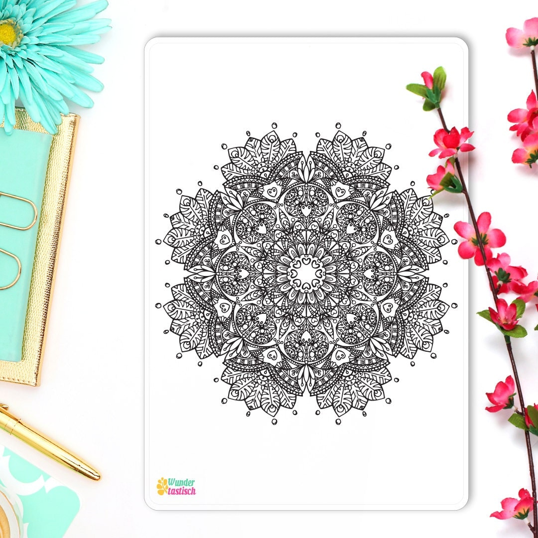 Valentines day mandala coloring pages -  4 30