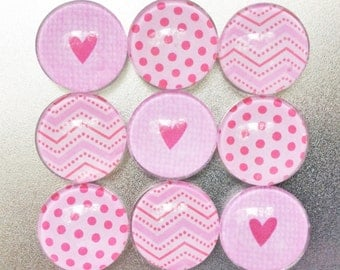 Pink Fridge Magnets in Decorative Tin | Set of 9 | Super Strong | Handmade | Glass Magnets | Heart Magnets | Polka Dots | Chevron Magnets