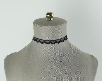Thin Black Lace Choker - Cute Lace Choker - Delicate and Thin Black Lace Choker - Retro Lace Choker Necklace - Lace Jewelry