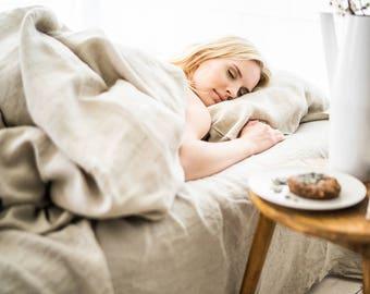 Linen Flat Sheet, stonewashed linen, softened linen bedding, bedsheet, bed sheet, natural color, organic bed sheet