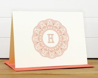 Personalized Stationery Set / Personalized Stationary Set - MANDALA Custom Personalized Note Card Set - Feminine Frame Monogram