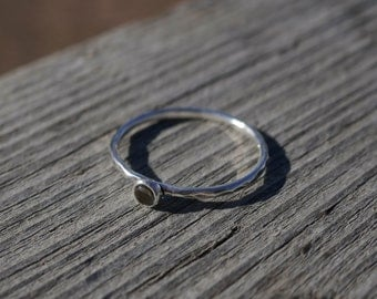 Smoky Quartz stacking ring, hammered band, sterling silver delicate stacking ring