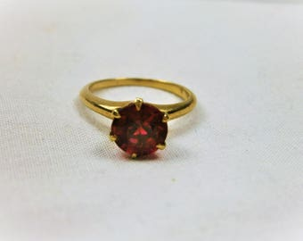 14K Gold Ruby Ring, Synthetic Ruby, Solitaire Ring, Edwardian Ring 1910's, July Birthstone, Engagement Ring, Antique Ring