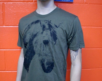 horse t-shirt, on sale, army green, silkscreened t shirt, mens t-shirt, screenprinted tee, 1Aeon