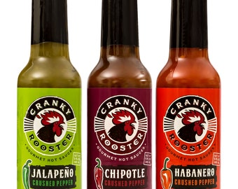 Cranky Rooster Gourmet Hot Sauce | Set of 3 | Jalapeno / Habanero & Chipotle Crushed Pepper Sauce | Kosher Certified