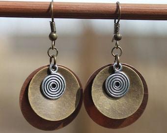 Copper Earrings Brass Earrings Boho Jewelry Dangle Mixed Metal Earrings Boho Earrings Bohemian Earrings Christmas Gift For Her Gift women