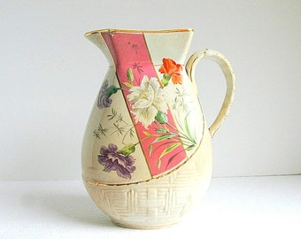 Aesthetic Movement 19th. Century Ironstone Pitcher Knowles Taylor and Knowles Pink Band Polychrome Transferware Flowers