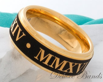 Tungsten Ring Tungsten Wedding Band Roman Numeral Ring Mens Womens Tungsten Ring Mathcing Ring Set Anniversary Promise Engagement Ring New