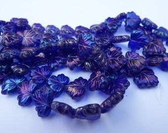 20 Czech Pressed Glass Cobalt Blue Leaf Beads / Leaf Bead / Czech Pressed Glass Leaf Beads / 12x11mm Leaf Bead