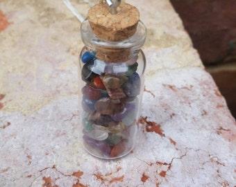 Healing stone, glass bottle necklace (light)