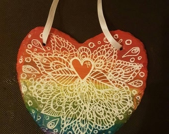 Rainbow Slate Heart Hanging