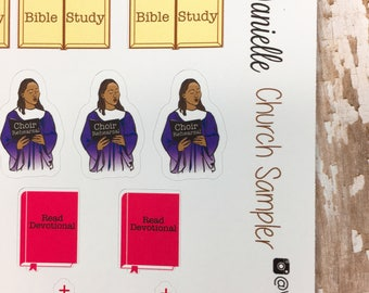 41 Church Sampler Planner Stickers, Choir Rehearsal Stickers, Bible Study Stickers, Prayer Stickers, Church Stickers, Devotional Stickers