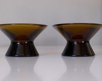 Kaj Franck Nuutajarvi Kartio Glass Candle Holders - Finland Iittala Scandinavian Mid Century Danish Modern - Olive Amber