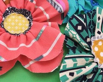 Handmade Fabric Flowers. Set of Three. Craft Supplies