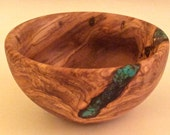 Hand Carved Olive Wood Bowl with Gemstone Inlay by Jack Cousin