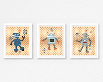 Robot Nursery Art, Robot Prints, Modern Nursery Decor, Robot Bedroom Wall Art, Baby Boy Nursery Decor, Quirky Prints for New Baby Boy