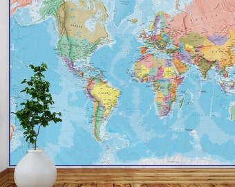 Giant world map wall decal map wall stencils abstract world for Blue world map mural