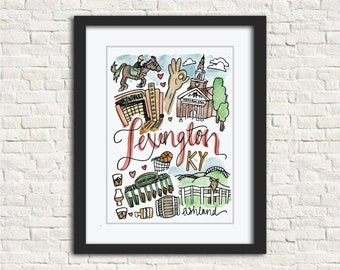 Lexington, KY Watercolor City Illustration Wall Art Print // 8x10