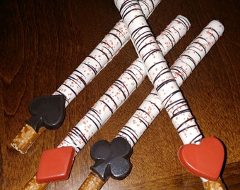 12 Casino Chocolate Covered Pretzel Rods
