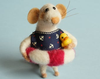 CUSTOM ORDER for Kathleen! Needle felted Mouse with float. Anchor. Mouse with duck. Dollhouse mouse. Summer Mouse. Gift. Ornament.