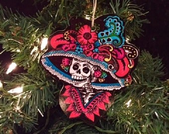 Colorful Skeleton Lady Day of the Dead Wooden Handmade Ornament
