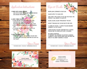 LipSense Business Cards Buyers Cards || Custom SeneGence Pink Watercolor Florals