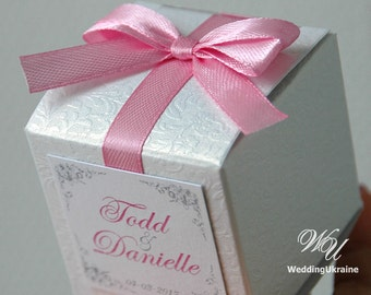 Elegant Wedding gift box - White textured bonbonniere with Light Pink satin ribbon, bow & custom personalized tag - candy favors gift boxes