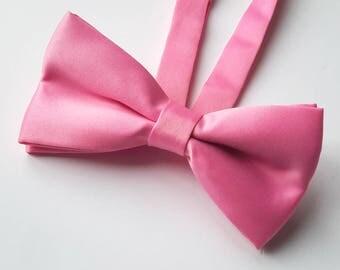 Bow Ties for Men, Mens Bow Tie, Men's Pink Satin Bow tie, Pre-tied bow tie, Double Bow tie, Wedding Bow tie