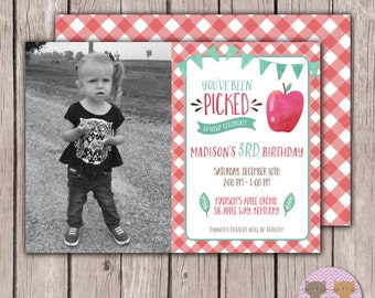 PRINTABLE- Photo- The Apple of Our Eye Photo Birthday Invite - Fall Birthday Invite - Front & Back - 5x7 JPG