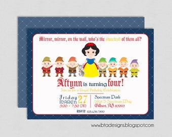Snow White Princess Birthday Party Invitation 3, Customized, Digital File