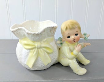 Vintage Relpo K1332 Baby Girl Ceramic Planter, Made in Japan, Vintage New Baby Gift, Mid Century Planter, Yellow and White Baby Planter