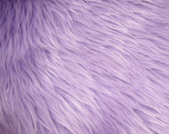 """Lavender Luxury Long Pile Faux Shaggy Fur Fabric - Sold By The Yard - 60"""""""