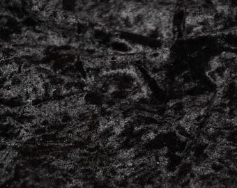 "Black Panne Crush Velvet Backdrop Apparel Stretch Fabric - By The Yard - 60"""