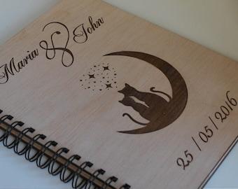 Rustic Wedding Guest Book / Love Cats Guest Book / Wood Wedding Guest Book / Rustic Wedding / Spiral Guest Book / Guest Book Ideas