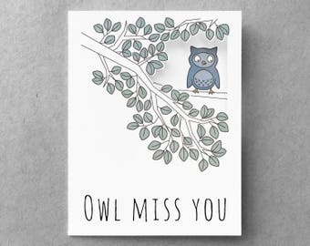 Miss you card | Goodbye card | Long distance relationship | Owl card  | Funny miss you | Best friend moving card | Boyfriend card