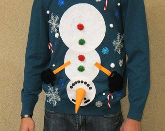 Ugly Christmas Sweater Custom- Naughty Sweater - Ugly Sweater Party - Upside down Snowman Mens - Tacky sweater