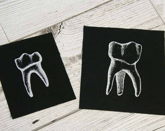 Occult patches - two tooth patches - teeth, punk patch, goth patch, pagan patches, witch, sew on patch, horror patch, nu Goth, skull, pagan