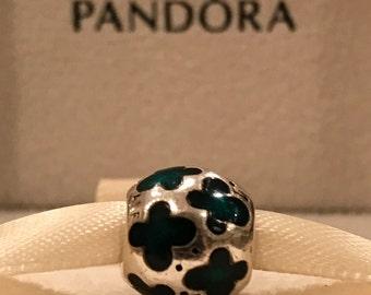 "Authentic Pandora Sterling Silver Green Enamel Butterflies Charm Genuine Pandora Bead ""Retired"" Pandora Charm"