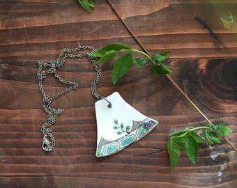 Broken ceramic / broken china plant sapling necklace